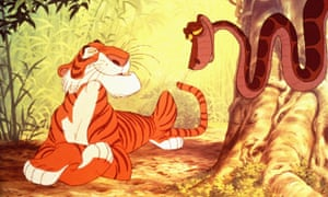 The Jungle Book's villain, Shere Khan, talks (with 'gay' voice) to the snake, Kaa.