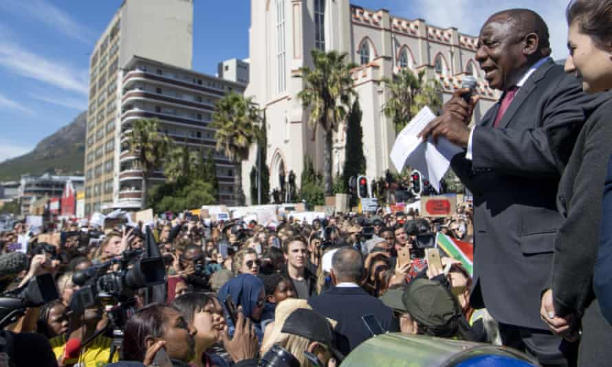 South African President, Cyril Ramaphosa, addresses protesters outside parliament in Cape Town.