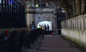 A forensic tent is seen near St Thomas' Hospital in London