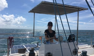 Laura at Crystal's helm