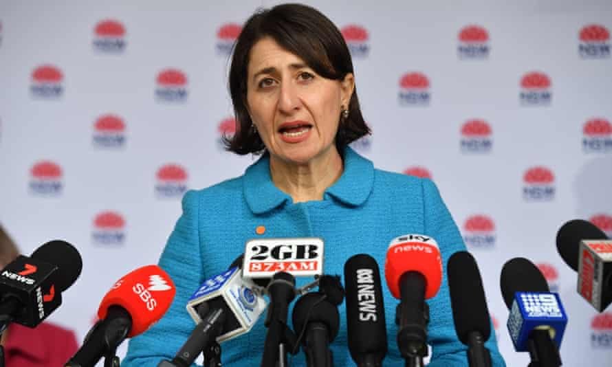 NSW premier Gladys Berejiklian faces the media during a Covid update in Sydney on Tuesday.