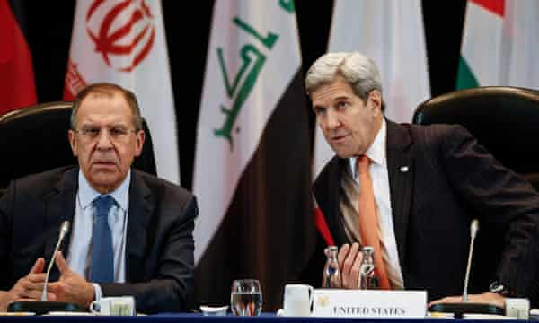 The Russian foreign minister, Sergei Lavrov, and the US secretary of state, John Kerry, at the talks in Munich.