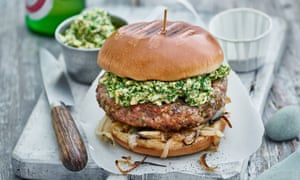 Pork burger with sauce gribiche and burt onions Tom Kerridge barbecue recipes Photographer - Jean Cazals Food stylist - Marie-Ange Lapierre Props - Pene Parker Observer Food Monthly OFM BBQ