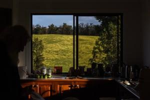 Pascoe inside his kitchen with the glowing mandadyan nalluk view.