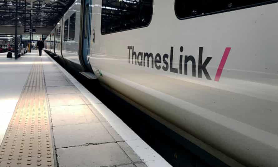 Thameslink train in station.