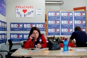 Campaign volunteers for Joe Biden work a phone bank in North Charleston, South Carolina, on 28 February.