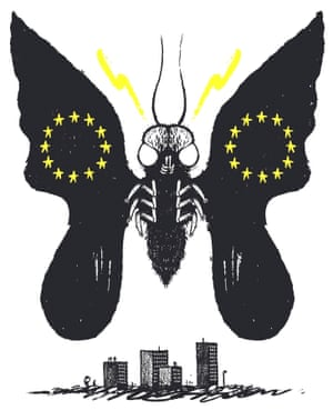 Illustration by David Foldvari of a moth with the EU flag on its wings.