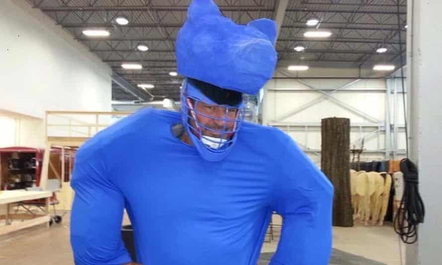 Glenn Ennis wears the blue bear suit used in The Revenant.