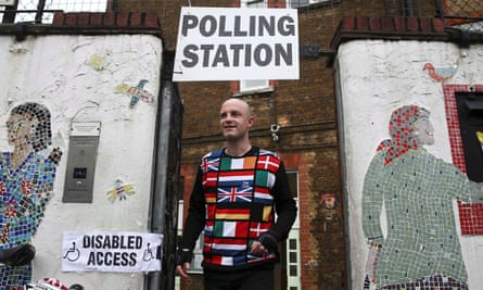 A voter in the EU referendum leaves a polling station in north London