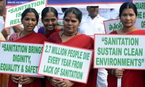 Members of Sulabh International rally in Hyderabad for decent sanitation on World Toilet Day.