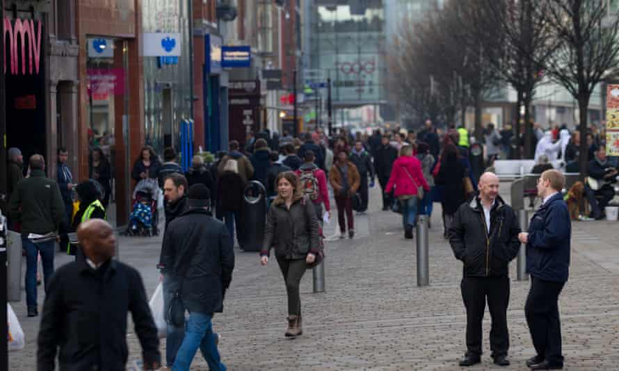 Shoppers in central Manchester