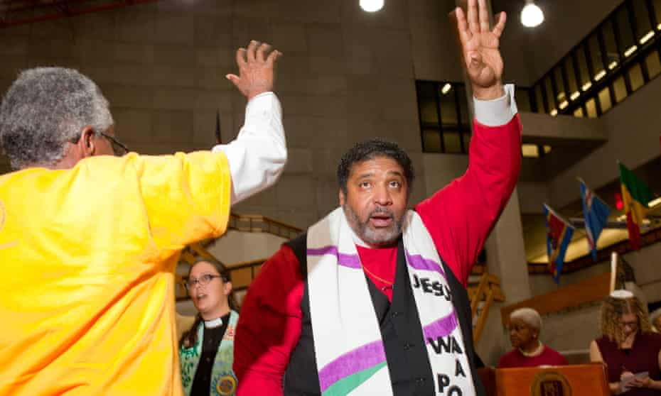 Rev Dr William J Barber II at the Poor People's Campaign mass meeting at Wayne County Community College.