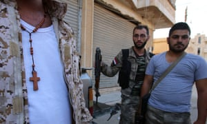 Members of the Assyrian Gozarto Protection Forces in Hasakeh, north-east Syria, where Isis took 253 Assyrian Christians captive in an initial offensive early this year.