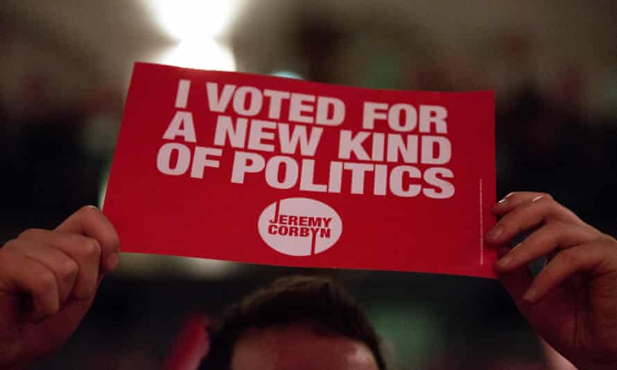 A Corbyn supporter at a leadership campaign rally in September.