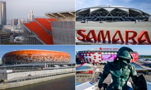Clockwise from top left: Central Stadium in Ekaterinburg; Samara Arena; Spartak Stadium in Moscow; Mordovia Arena in Saransk.