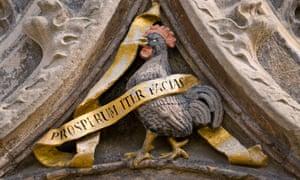 Heraldic mascot … a version of the cockerel appears in a stone decoration at Jesus College, Cambridge.