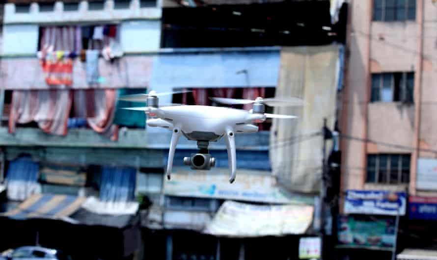 A drone used by Indian police for surveillance in Bhopal during lockdown