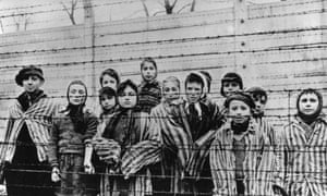Auschwitz survivors awaiting release after the camp's liberation in 1945.
