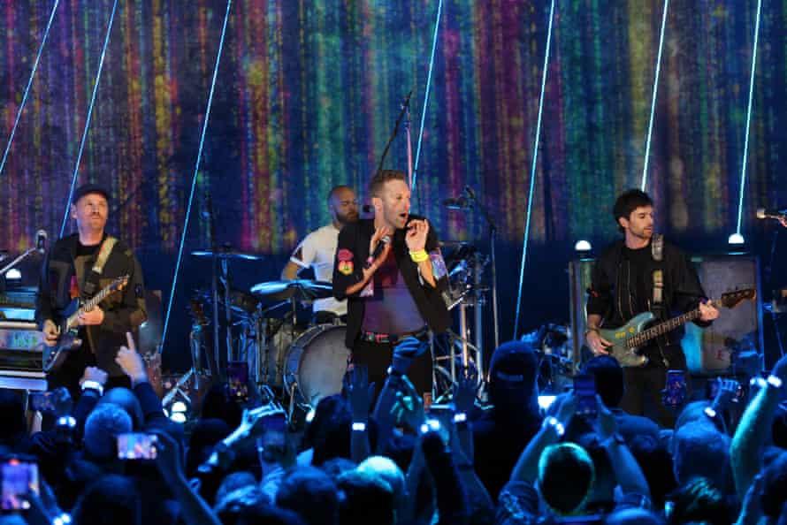 Coldplay performing in London in October 2021.