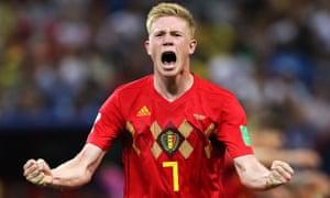 Kevin De Bruyne celebrates scoring Belgium's second.