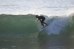 Harry Barrington surfing at McKenzies beach