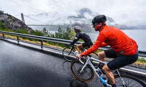 Riding through the wet on Haute Route Norway 2018 Day 1 still brings striking sights of lakes and bridges.