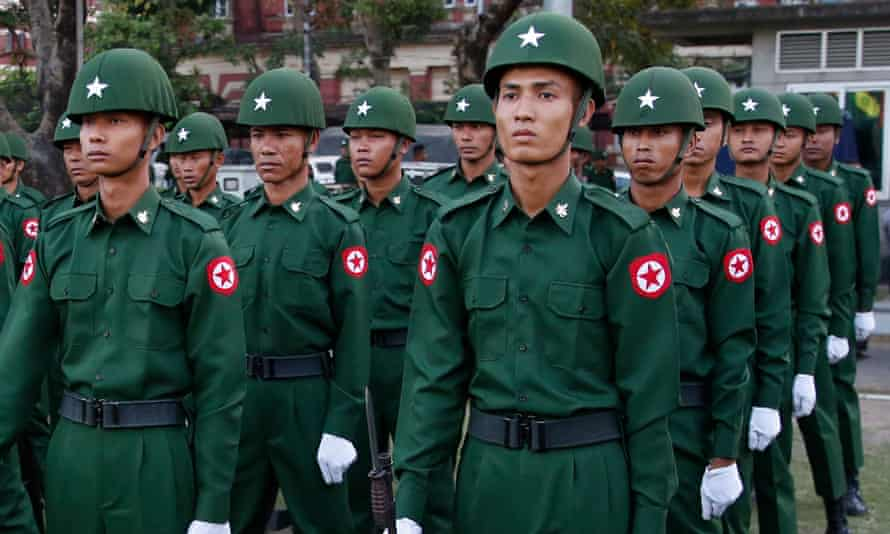 Myanmar soldiers standing in rows
