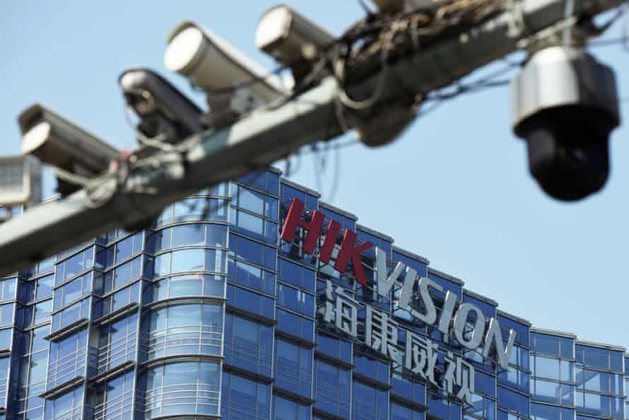 Surveillance cameras are seen near the headquarters of Chinese video surveillance firm Hikvision in Hangzhou, Zhejiang province, China.