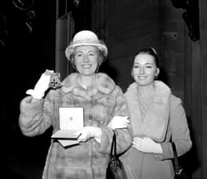 Vera Lynn with her daughter Virginia after receiving her award of the OBE in the New Year Honours at Buckingham Palace on 11 February 1969