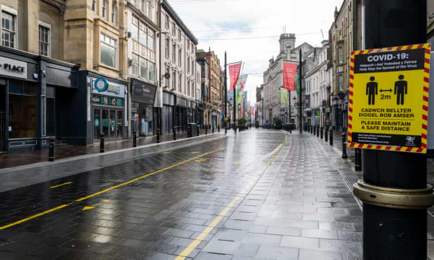 An empty high street in Cardiff, Wales, in February