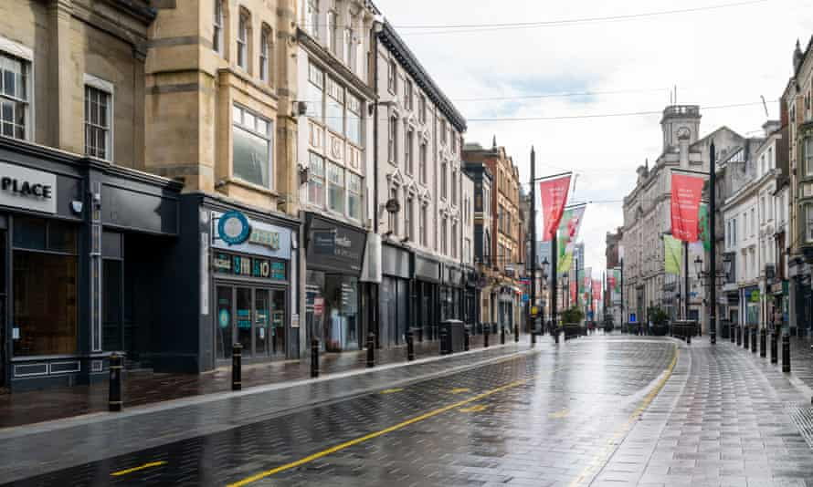 Empty high street in Cardiff, Wales