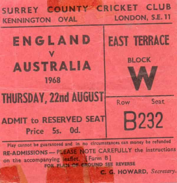 Stephen Bates's ticket for his first Test match