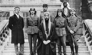 Prince Faisal, with his delegates and advisors at the Versailles peace conference in 1919. T. E. Lawrence stands to the right.