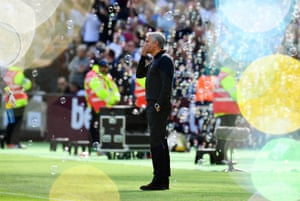 Manchester United manager Jose Mourinho reacts after The Hammers score another goal.