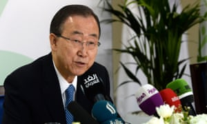 Ban Ki-moon speaks at a press conference ahead of the launch of the UN's report on humanitarian financing in Dubai.