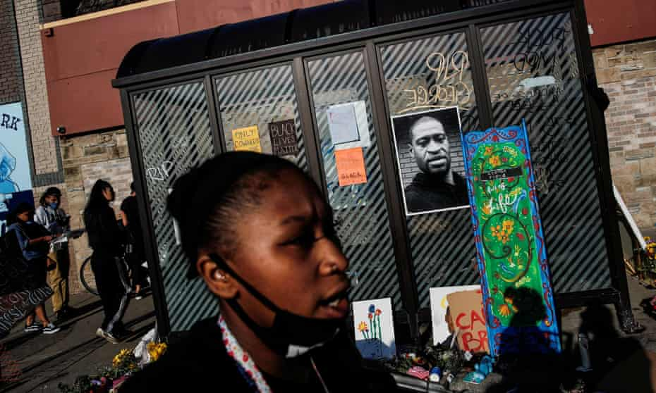 A memorial for George Floyd in Minneapolis. On Friday the officer who knelt on Floyd's neck was charged with murder.