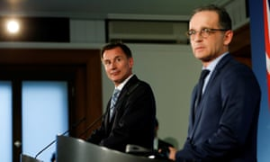 Jeremy Hunt and Heiko Maas in Berlin on Wednesday.