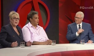Liberal party vice president Teena McQueen (left), American author Roxane Gay and host Tony Jones on the ABC's Q&A program on Monday.