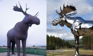 Battle of the moose: Canada's Mac the Moose, left, and Norway's Storelgen.
