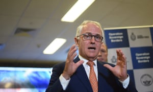 Malcolm Turnbull speaks to officials at the Australian Maritime Border Command Centre in Canberra on Sunday.
