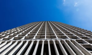an upwards shot of Centre Point tower's facade