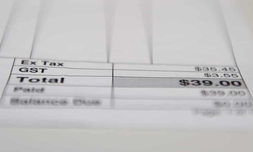 The GST paid on a store receipt in Sydney.
