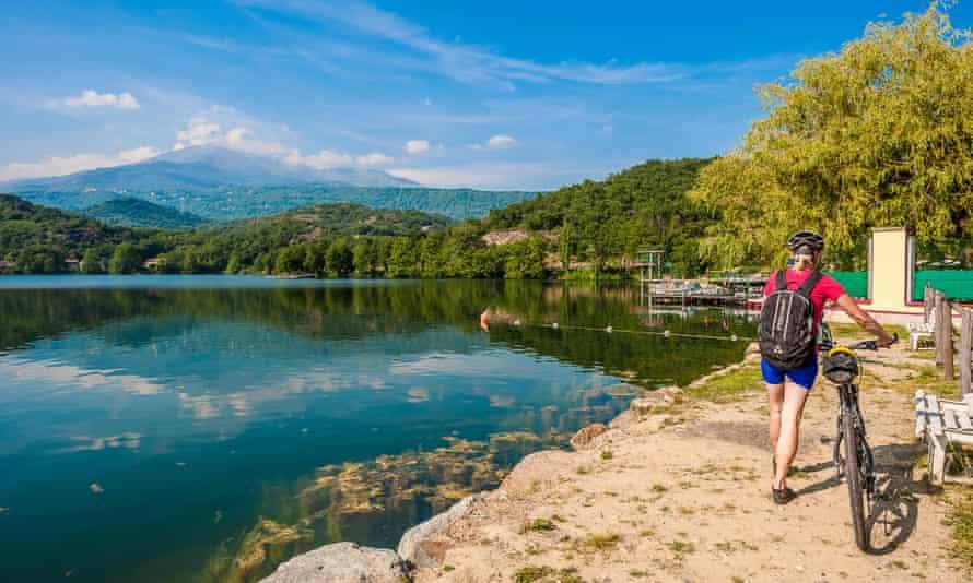 Lake Sirio on the Via Francigena, Piedmont, Italy,