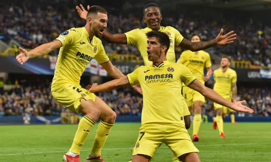 Villarreal's Gerard Moreno celebrates his goal against Chelsea in the European Super Cup final. The Spanish forward recently renewed his contract at the club.