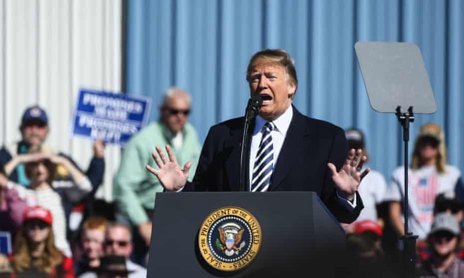 Trump claiming the Democrats 'want caravans' at a campaign rally on Saturday in Elko, Nevada
