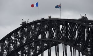 The French tricolore flag is raised over the Sydney Harbour Bridge on 15 November 2015 in memory of those affected by the attacks in Paris, France on 13 November.