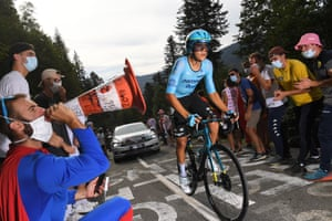 Tejada Canacue of Astana Pro Team is cheered on during Stage 20, an Individual Time Trial from Lure to La Planche Des Belles Filles.