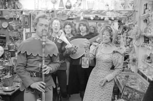 Carol singing at Camden Passage Market, 16 December 1971 (Archive ref. GUA-6-9-2-1-2-1524). 'They all look happy because they are singing together.'