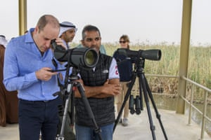 Kuwait City, Kuwait,Prince William observes wildlife during a visit to wetlands at the Jahra Nature Reserve to learn more about Kuwait's ambitious plans to protect its natural environment from human and environmental challenges