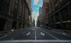 An empty street in New York, New York, on 22 March.
